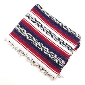 Vintage Sarape Throw Blanket Striped Boho Aztec